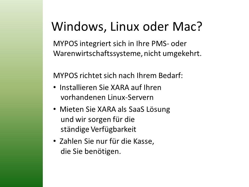 Windows, Linux oder Mac? MYPOS integriert sich in Ihre PMS- oder Warenwirtschaftssysteme, nicht umgekehrt. MYPOS richtet sich nach Ihrem Bedarf: Insta