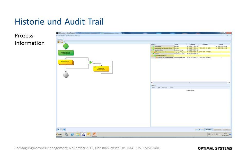 Historie und Audit Trail Fachtagung Records Management, November 2011, Christian Weisz, OPTIMAL SYSTEMS GmbH Prozess- Information