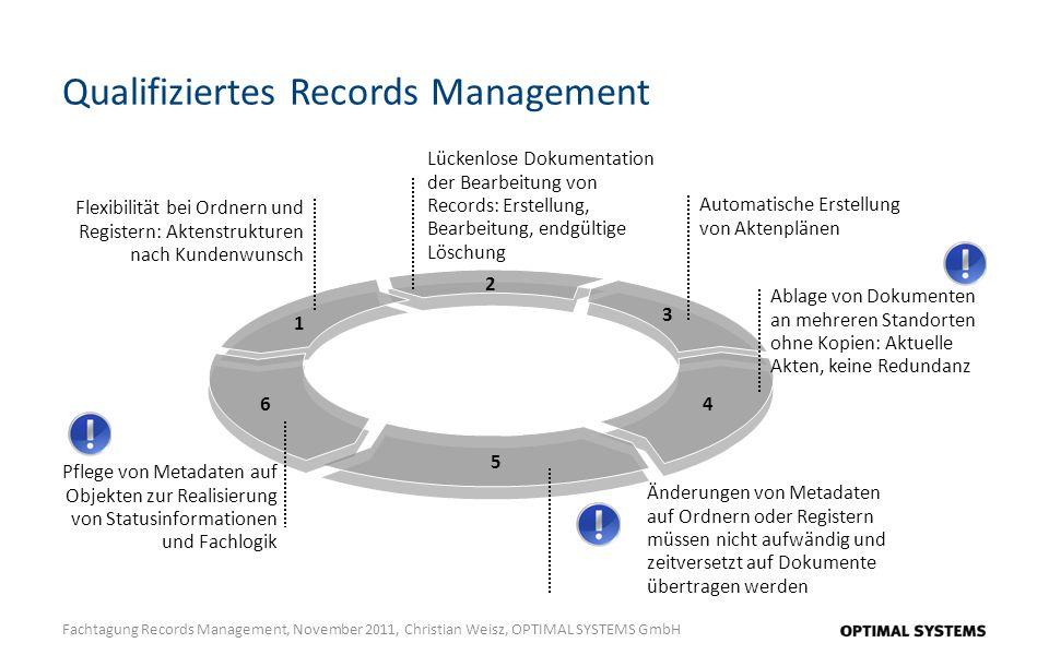 Qualifiziertes Records Management Fachtagung Records Management, November 2011, Christian Weisz, OPTIMAL SYSTEMS GmbH Lückenlose Dokumentation der Bea