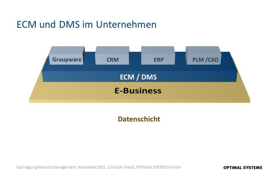 ECM und DMS im Unternehmen Fachtagung Records Management, November 2011, Christian Weisz, OPTIMAL SYSTEMS GmbH