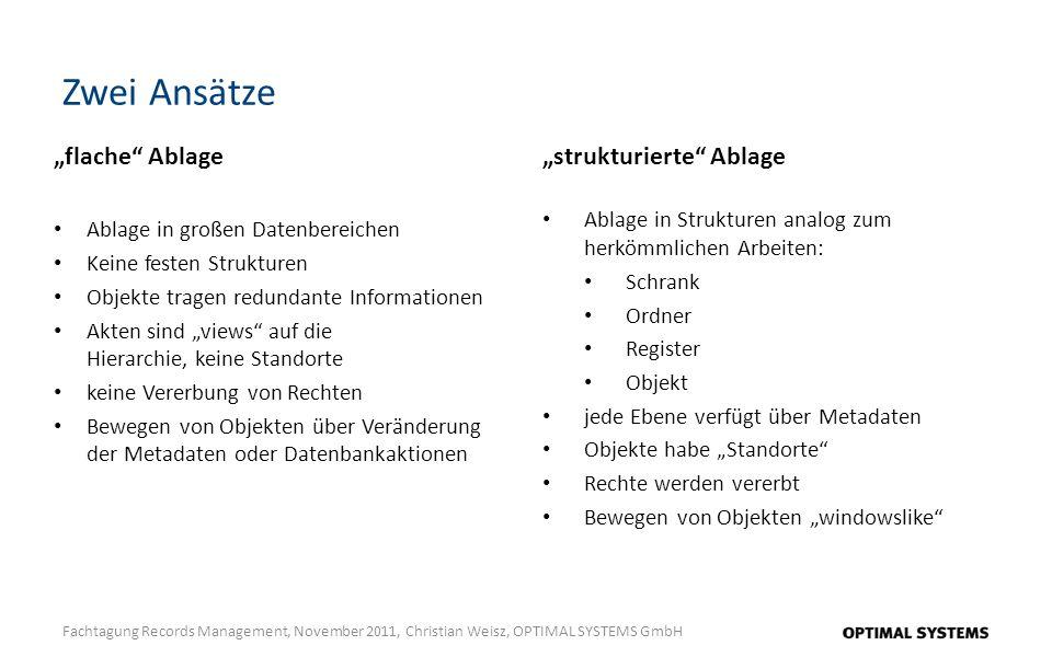 Zwei Ansätze Fachtagung Records Management, November 2011, Christian Weisz, OPTIMAL SYSTEMS GmbH flache Ablage Ablage in großen Datenbereichen Keine f