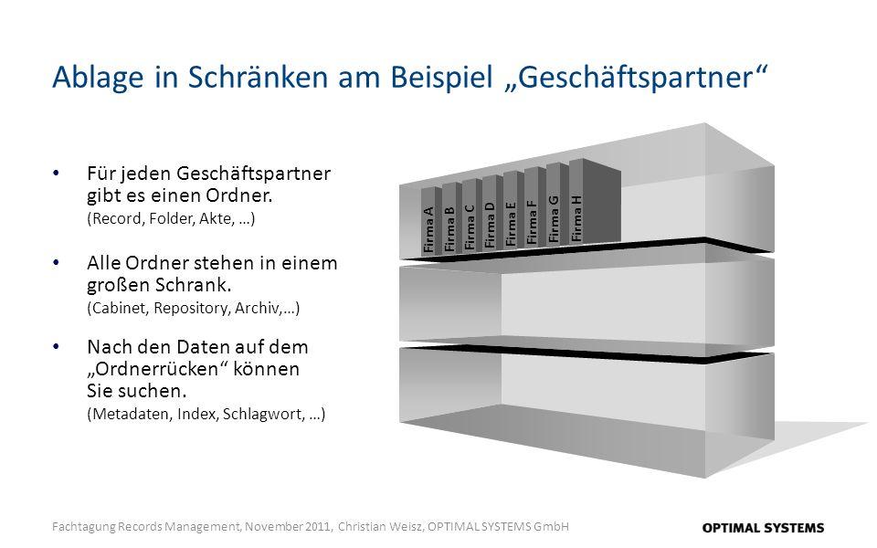 Ablage in Schränken am Beispiel Geschäftspartner Fachtagung Records Management, November 2011, Christian Weisz, OPTIMAL SYSTEMS GmbH Für jeden Geschäftspartner gibt es einen Ordner.