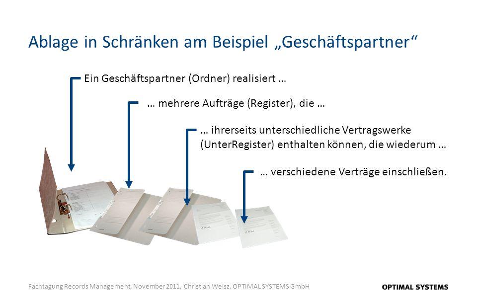 Ablage in Schränken am Beispiel Geschäftspartner Fachtagung Records Management, November 2011, Christian Weisz, OPTIMAL SYSTEMS GmbH Ein Geschäftspart