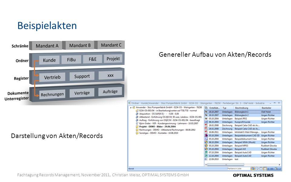 Beispielakten Fachtagung Records Management, November 2011, Christian Weisz, OPTIMAL SYSTEMS GmbH Genereller Aufbau von Akten/Records Darstellung von Akten/Records