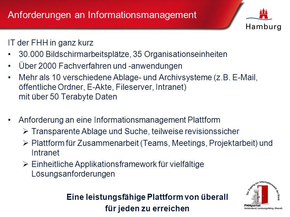 Anforderungen an Informationsmanagement IT der FHH in ganz kurz 30.000 Bildschirmarbeitsplätze, 35 Organisationseinheiten Über 2000 Fachverfahren und -anwendungen Mehr als 10 verschiedene Ablage- und Archivsysteme (z.B.