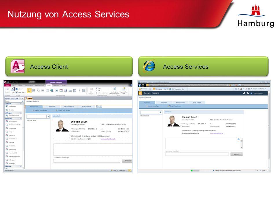 Nutzung von Access Services Access ClientAccess Services