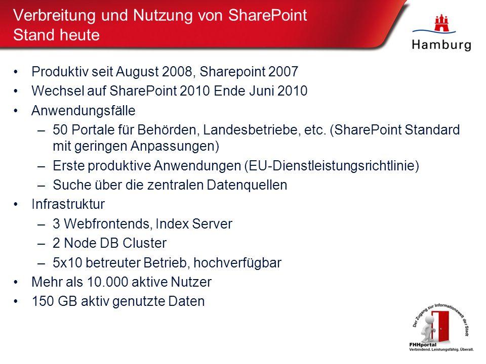 Verbreitung und Nutzung von SharePoint Stand heute Produktiv seit August 2008, Sharepoint 2007 Wechsel auf SharePoint 2010 Ende Juni 2010 Anwendungsfälle –50 Portale für Behörden, Landesbetriebe, etc.