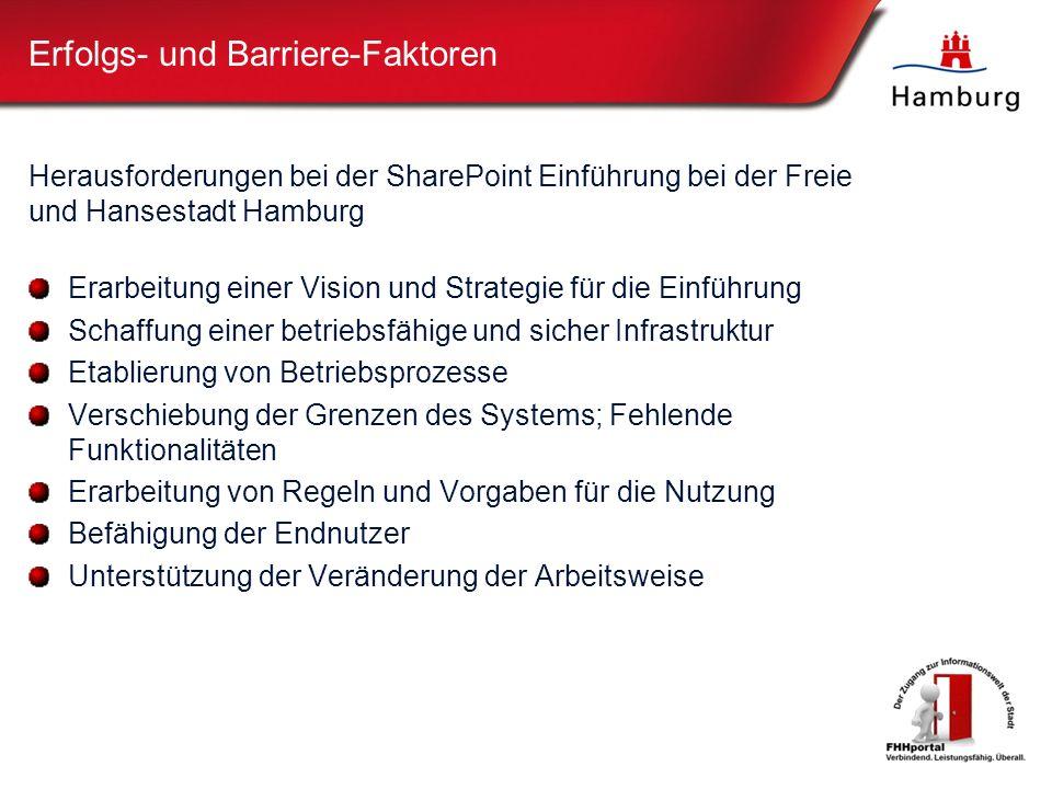 Erfolgs- und Barriere-Faktoren Herausforderungen bei der SharePoint Einführung bei der Freie und Hansestadt Hamburg Erarbeitung einer Vision und Strategie für die Einführung Schaffung einer betriebsfähige und sicher Infrastruktur Etablierung von Betriebsprozesse Verschiebung der Grenzen des Systems; Fehlende Funktionalitäten Erarbeitung von Regeln und Vorgaben für die Nutzung Befähigung der Endnutzer Unterstützung der Veränderung der Arbeitsweise
