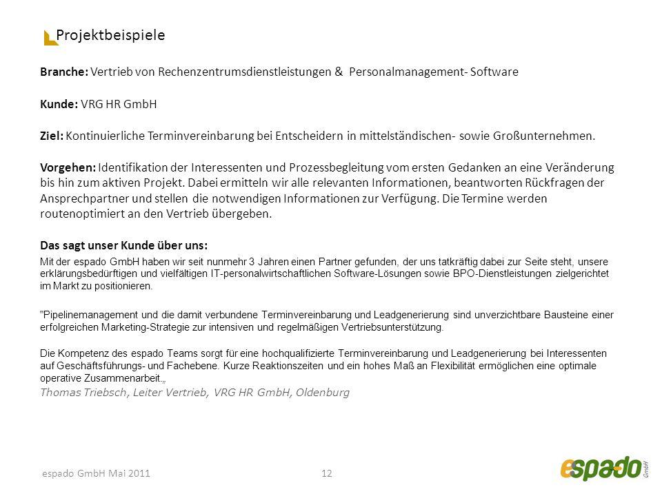 Projektbeispiele Branche: Vertrieb von Rechenzentrumsdienstleistungen & Personalmanagement- Software Kunde: VRG HR GmbH Ziel: Kontinuierliche Terminve