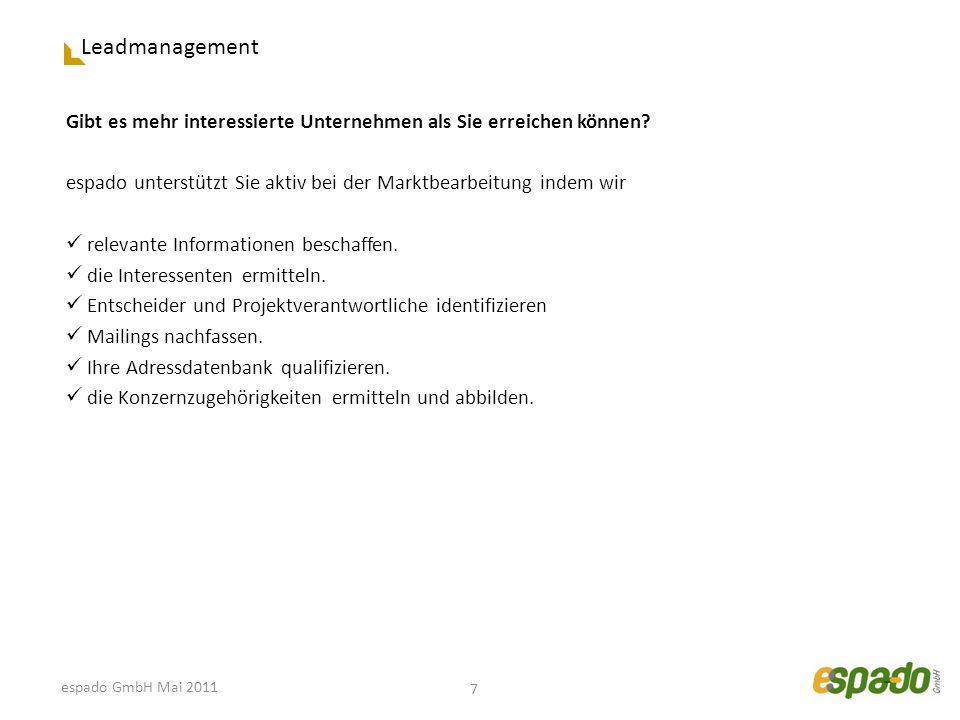 Leadmanagement Gibt es mehr interessierte Unternehmen als Sie erreichen können? espado unterstützt Sie aktiv bei der Marktbearbeitung indem wir releva