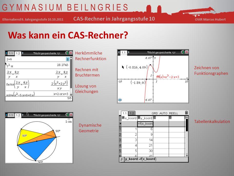 Was kann ein CAS-Rechner? Herkömmliche Rechnerfunktion Rechnen mit Bruchtermen Lösung von Gleichungen Zeichnen von Funktionsgraphen Dynamische Geometr