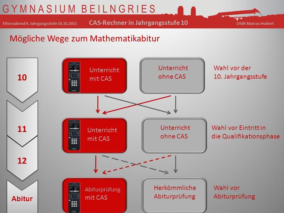 10 11 12 Abitur Mögliche Wege zum Mathematikabitur Wahl vor der 10. Jahrgangsstufe Unterricht mit CAS Abiturprüfung mit CAS Unterricht ohne CAS Herköm