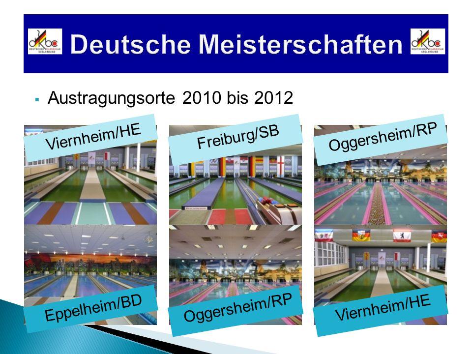 201020122011 Austragungsorte 2010 bis 2012 Viernheim/HE Eppelheim/BD Freiburg/SBOggersheim/RP Viernheim/HE