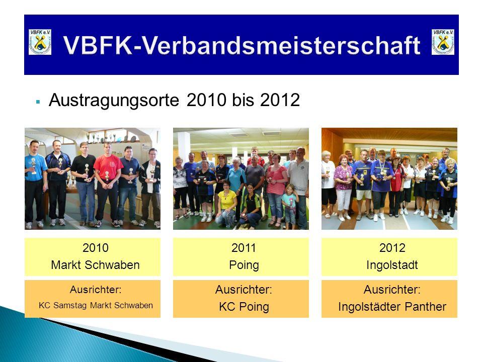 Austragungsorte 2010 bis 2012 2010 Markt Schwaben 2011 Poing 2012 Ingolstadt Ausrichter: Ingolstädter Panther Ausrichter: KC Poing Ausrichter: KC Sams