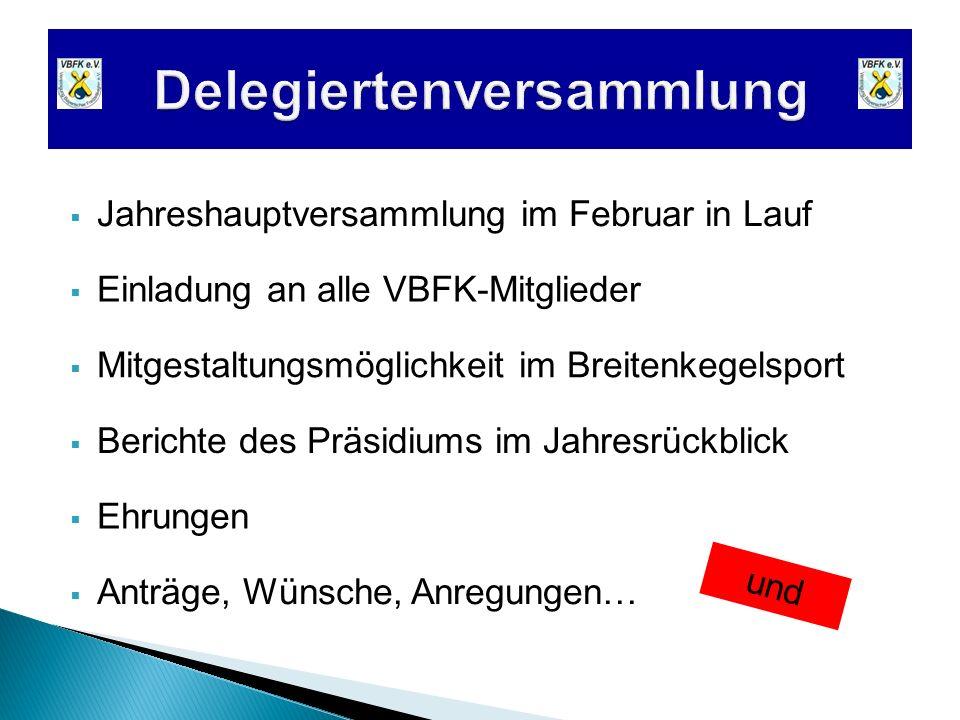Jahreshauptversammlung im Februar in Lauf Einladung an alle VBFK-Mitglieder Berichte des Präsidiums im Jahresrückblick Ehrungen Anträge, Wünsche, Anre