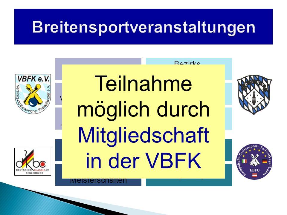 2 Disziplinen jährliche Austragung Frauen- Mannschaften Männer- Mannschaften Startberechtigung für Sieger der obersten Spielklassen sowie Pokalsieger 4-er-Mannschaften über jeweils 100 Wurf Teilnehmer aus allen bayerischen Kegelrunden Ausrichter können sich bei der VBFK bewerben