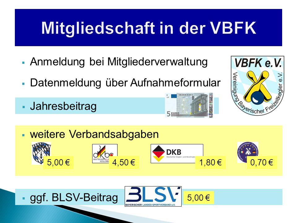 weitere Verbandsabgaben Anmeldung bei Mitgliederverwaltung Datenmeldung über Aufnahmeformular Jahresbeitrag 4,50 5,00 0,70 1,80 ggf. BLSV-Beitrag 5,00