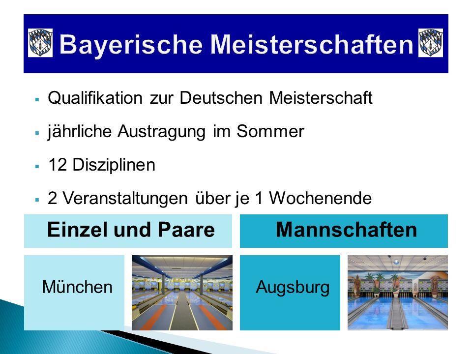 Qualifikation zur Deutschen Meisterschaft München jährliche Austragung im Sommer Einzel und PaareMannschaften Augsburg 2 Veranstaltungen über je 1 Woc