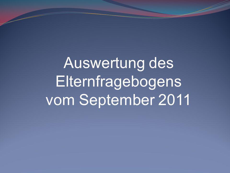 Auswertung des Elternfragebogens vom September 2011