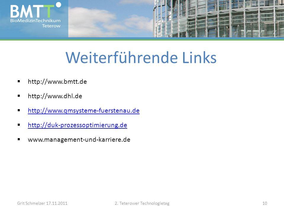 Weiterführende Links http://www.bmtt.de http://www.dhl.de http://www.qmsysteme-fuerstenau.de http://duk-prozessoptimierung.de www.management-und-karriere.de Grit Schmelzer 17.11.20112.