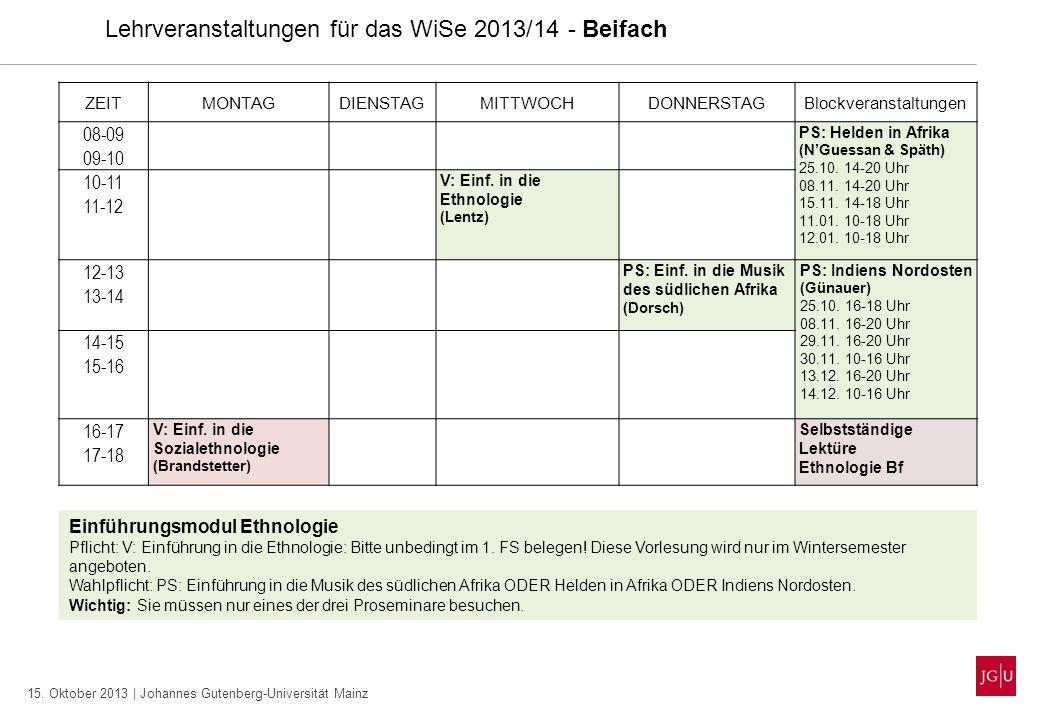 15. Oktober 2013 | Johannes Gutenberg-Universität Mainz Lehrveranstaltungen für das WiSe 2013/14 - Beifach ZEITMONTAGDIENSTAGMITTWOCHDONNERSTAGBlockve