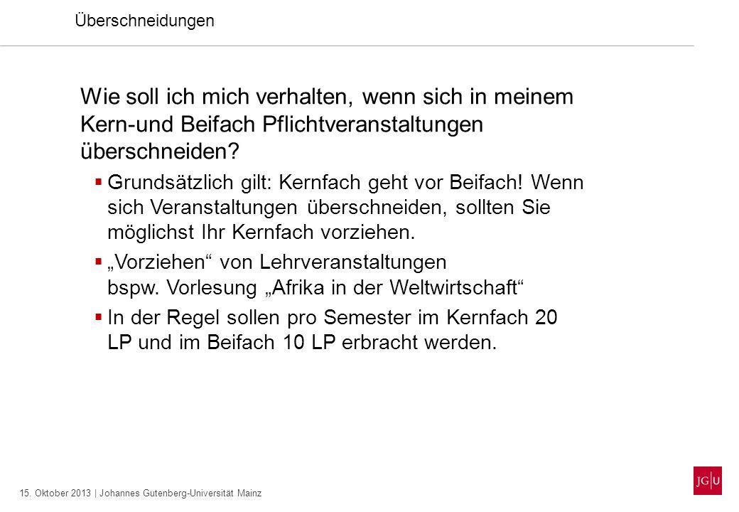 15. Oktober 2013 | Johannes Gutenberg-Universität Mainz Überschneidungen Wie soll ich mich verhalten, wenn sich in meinem Kern-und Beifach Pflichtvera