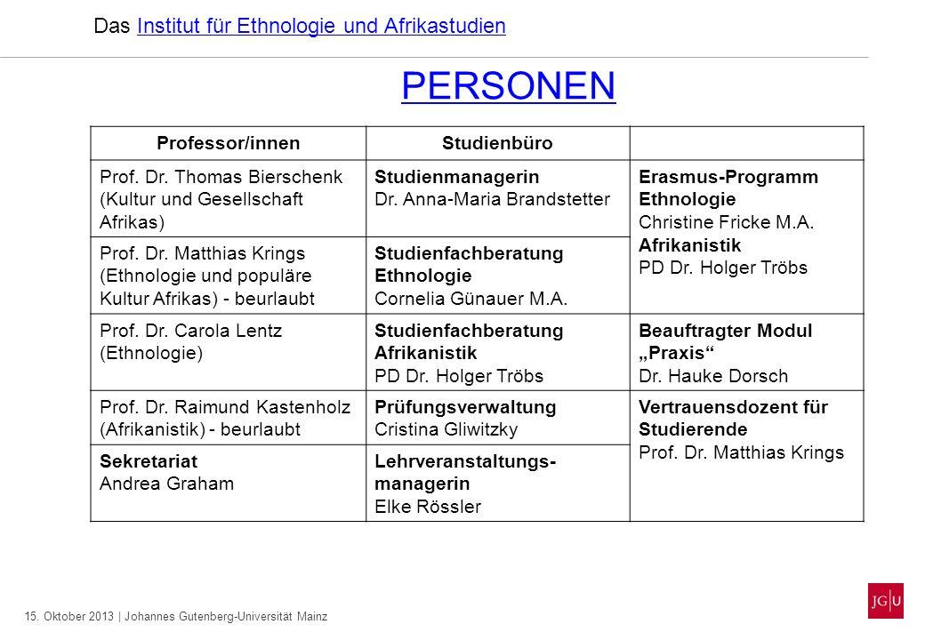 15. Oktober 2013 | Johannes Gutenberg-Universität Mainz PERSONEN Das Institut für Ethnologie und AfrikastudienInstitut für Ethnologie und Afrikastudie