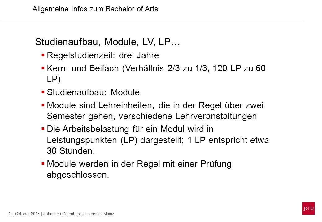 15. Oktober 2013 | Johannes Gutenberg-Universität Mainz Studienaufbau, Module, LV, LP… Regelstudienzeit: drei Jahre Kern- und Beifach (Verhältnis 2/3