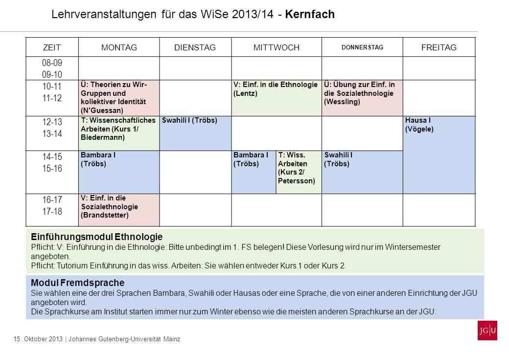 15. Oktober 2013 | Johannes Gutenberg-Universität Mainz Lehrveranstaltungen für das WiSe 2013/14 - Kernfach ZEITMONTAGDIENSTAGMITTWOCH DONNERSTAG FREI