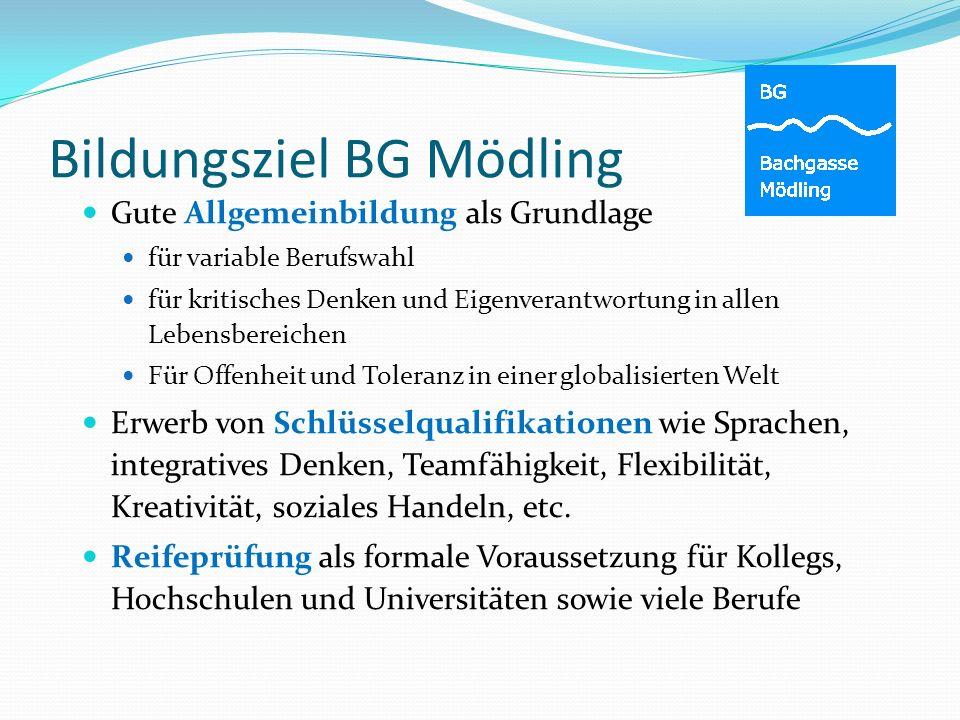Bildungsziel BG Mödling Gute Allgemeinbildung als Grundlage für variable Berufswahl für kritisches Denken und Eigenverantwortung in allen Lebensbereic