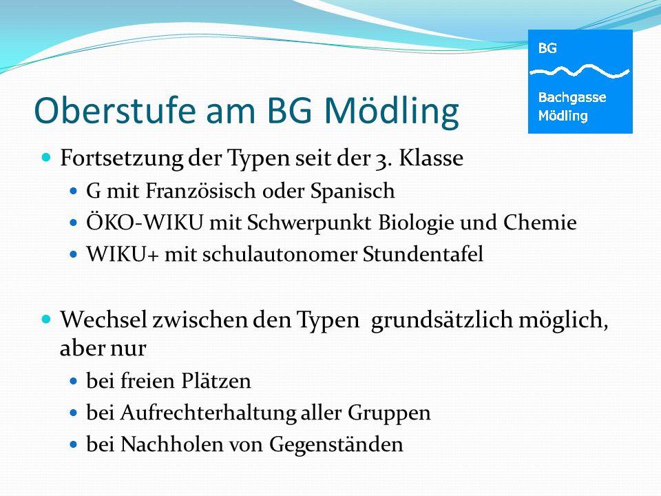 Oberstufe am BG Mödling Fortsetzung der Typen seit der 3. Klasse G mit Französisch oder Spanisch ÖKO-WIKU mit Schwerpunkt Biologie und Chemie WIKU+ mi