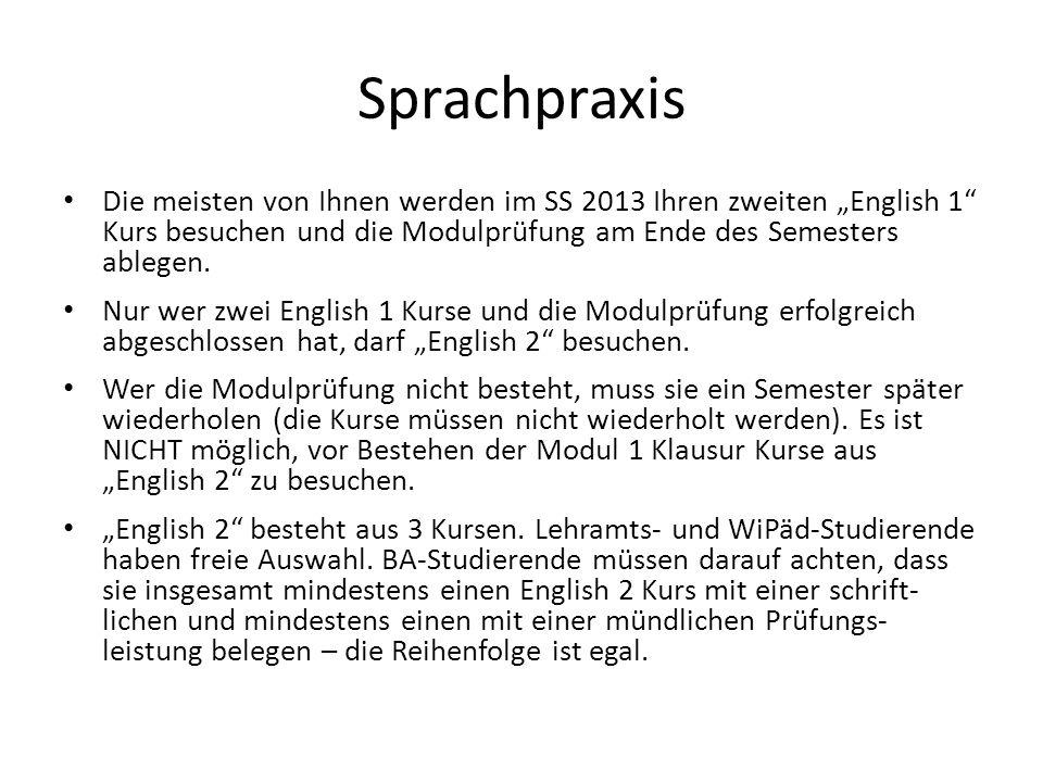 Sprachpraxis Die meisten von Ihnen werden im SS 2013 Ihren zweiten English 1 Kurs besuchen und die Modulprüfung am Ende des Semesters ablegen.