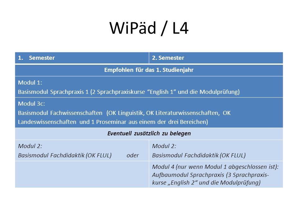WiPäd / L4 1.Semester2.Semester Empfohlen für das 1.