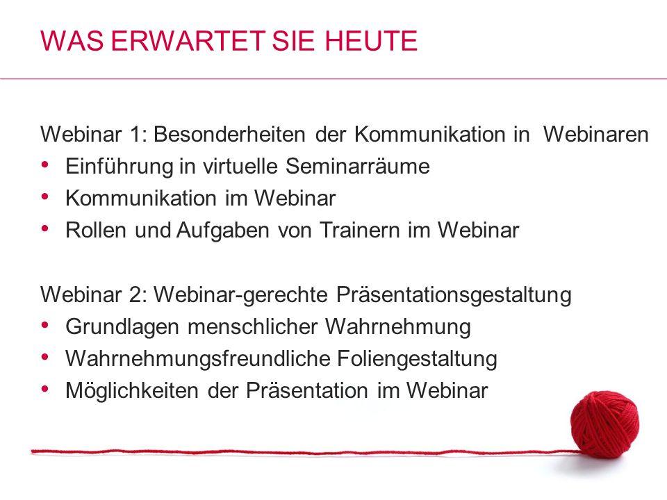 Webinar 1: Besonderheiten der Kommunikation in Webinaren Einführung in virtuelle Seminarräume Kommunikation im Webinar Rollen und Aufgaben von Trainer
