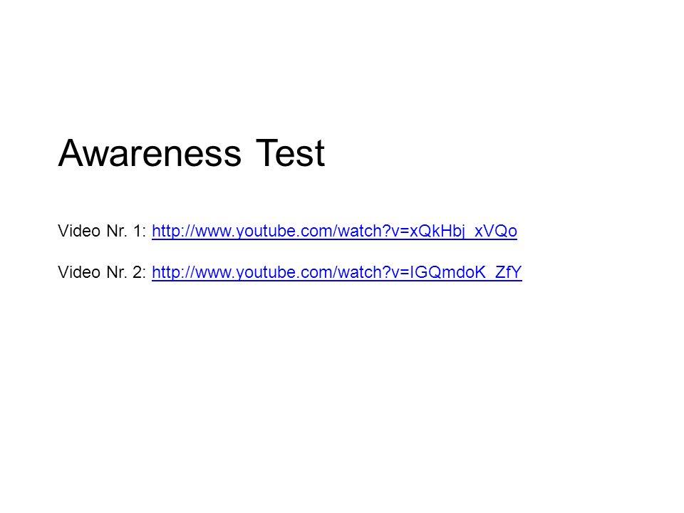Awareness Test Video Nr. 1: http://www.youtube.com/watch?v=xQkHbj_xVQo Video Nr. 2: http://www.youtube.com/watch?v=IGQmdoK_ZfYhttp://www.youtube.com/w