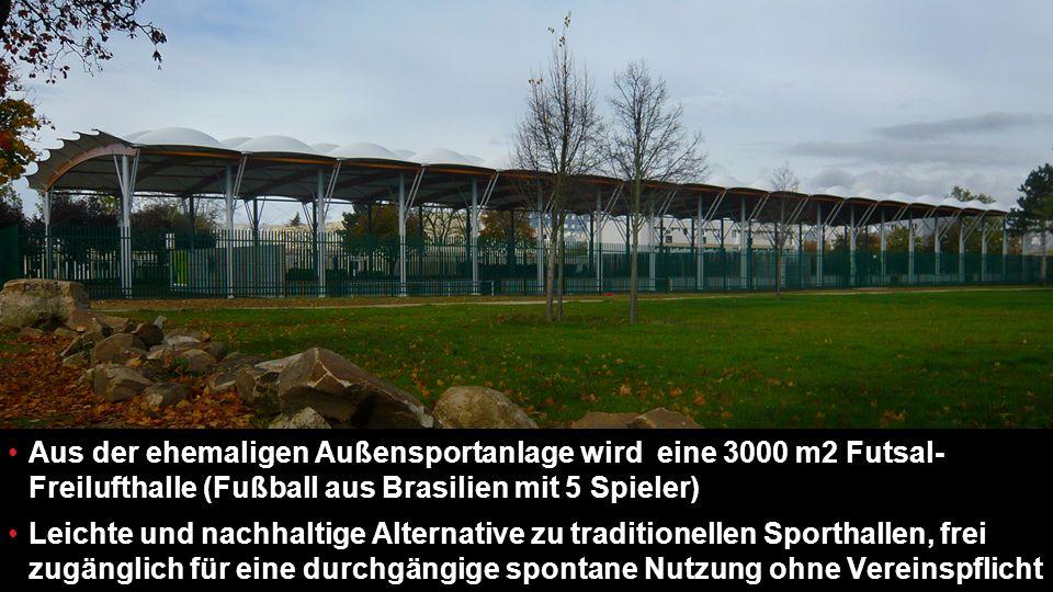 21 Aus der ehemaligen Außensportanlage wird eine 3000 m2 Futsal- Freilufthalle (Fußball aus Brasilien mit 5 Spieler) Leichte und nachhaltige Alternative zu traditionellen Sporthallen, frei zugänglich für eine durchgängige spontane Nutzung ohne Vereinspflicht