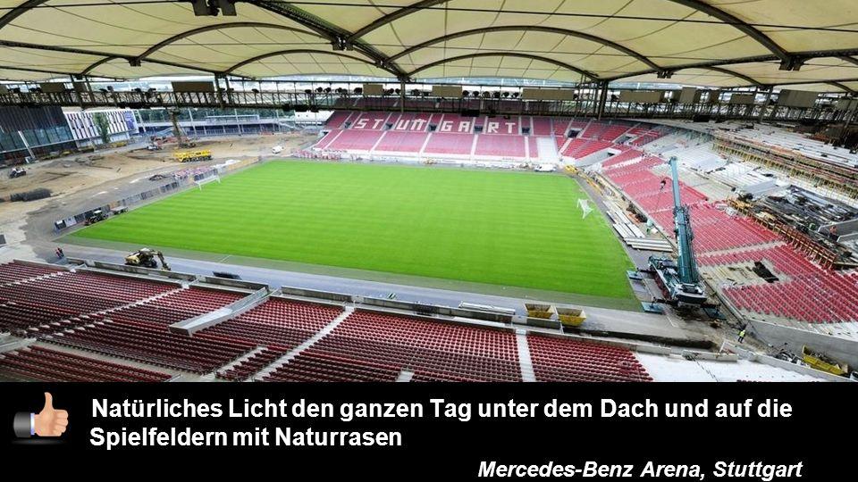 7 Natürliches Licht den ganzen Tag unter dem Dach und auf die Spielfeldern mit Naturrasen Mercedes-Benz Arena, Stuttgart