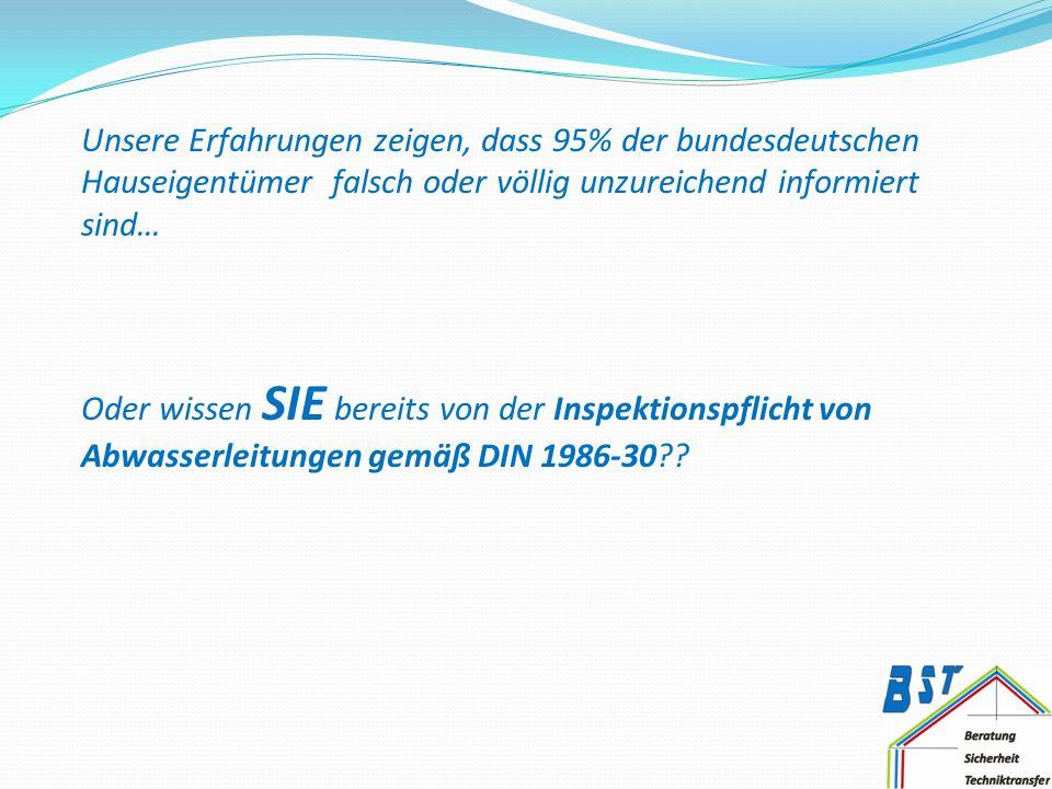 Oder wissen SIE bereits von der Inspektionspflicht von Abwasserleitungen gemäß DIN 1986-30??