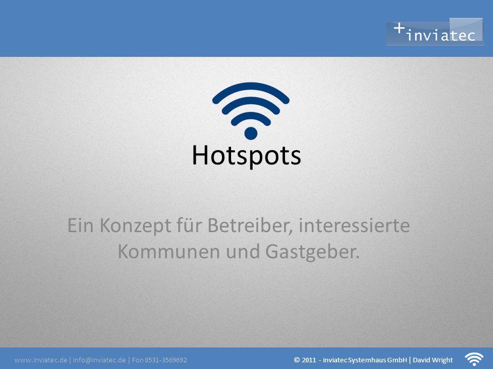 Hotspots Ein Konzept für Betreiber, interessierte Kommunen und Gastgeber. www.inviatec.de | info@inviatec.de | Fon 0531-3569692 © 2011 - inviatec Syst