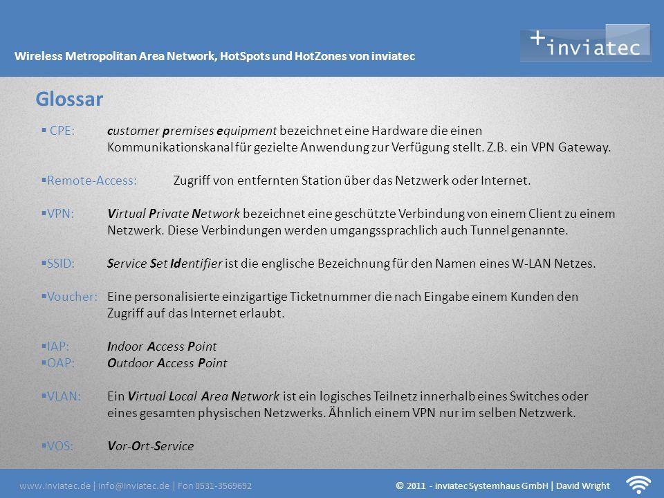 Fehmarn Hotsots Glossar www.inviatec.de | info@inviatec.de | Fon 0531-3569692 © 2011 - inviatec Systemhaus GmbH | David Wright Wireless Metropolitan A