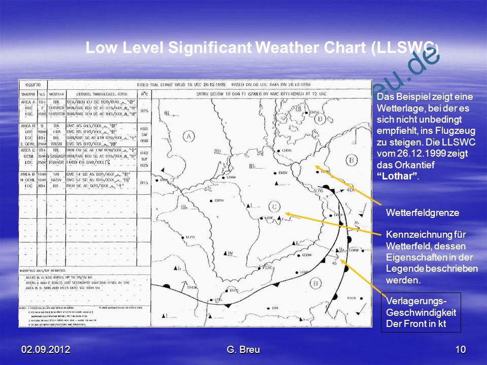 NO COPY – www.fliegerbreu.de 10 Low Level Significant Weather Chart (LLSWC ) Das Beispiel zeigt eine Wetterlage, bei der es sich nicht unbedingt empfi