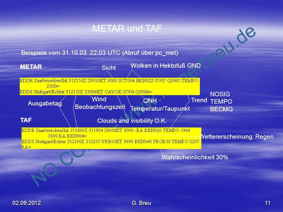 NO COPY – www.fliegerbreu.de 11 METAR und TAF Beispiele vom 31.10.03 22:03 UTC (Abruf über pc_met) TAF METAR Ausgabetag Beobachtungszeit Wind QNH Temp