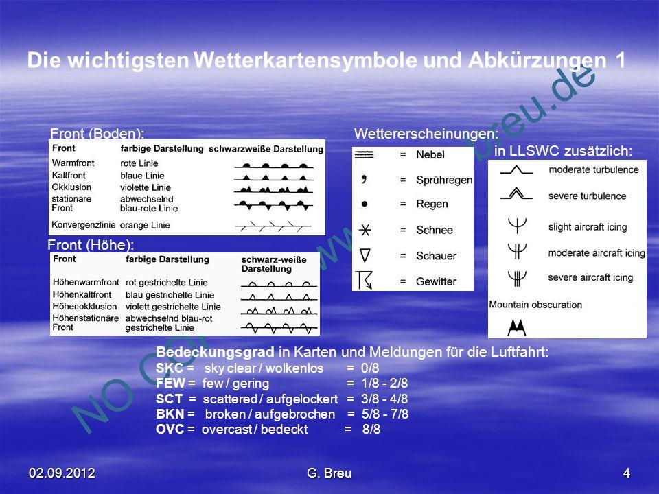 NO COPY – www.fliegerbreu.de 4 Die wichtigsten Wetterkartensymbole und Abkürzungen 1 Front (Boden): Front (Höhe): Wettererscheinungen: in LLSWC zusätz