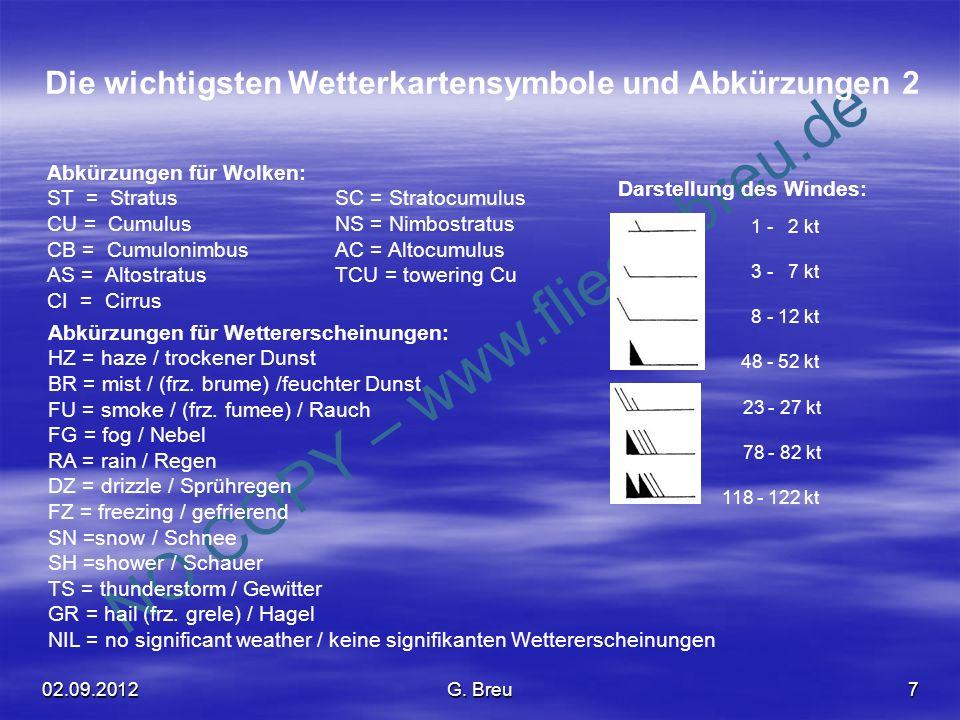 NO COPY – www.fliegerbreu.de 7 Die wichtigsten Wetterkartensymbole und Abkürzungen 2 1 - 2 kt 3 - 7 kt 8 - 12 kt 48 - 52 kt 23 - 27 kt 78 - 82 kt 118