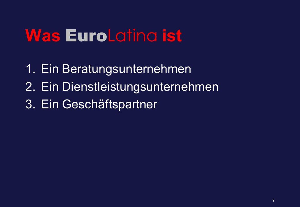 Euro Latina als Beratungs- unternehmen 1.Lateinamerikaberatung 2.Brasilienberatung 3.Unternehmensberatung 4.Personalberatung 3