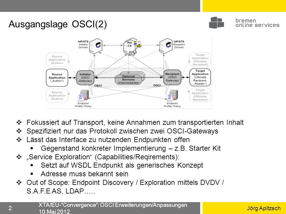 XTA Name XTA/EU-Convergence: OSCI Erweiterungen/Anpassungen 10.Mai 2012 3 Convenience-Interface zu Endpunkten / FV, kapselt Authentisierung, Service Exploration, letztlich auch Transport selbst Leicht zu handhabende generische Konstrukte für EP-Identifiern (logische Adressierung) Transport Reports / Quittungen EP Authentisierung Struktur Payload (letztlich gebunden an Szenario) XTA-WS setzt entspr.