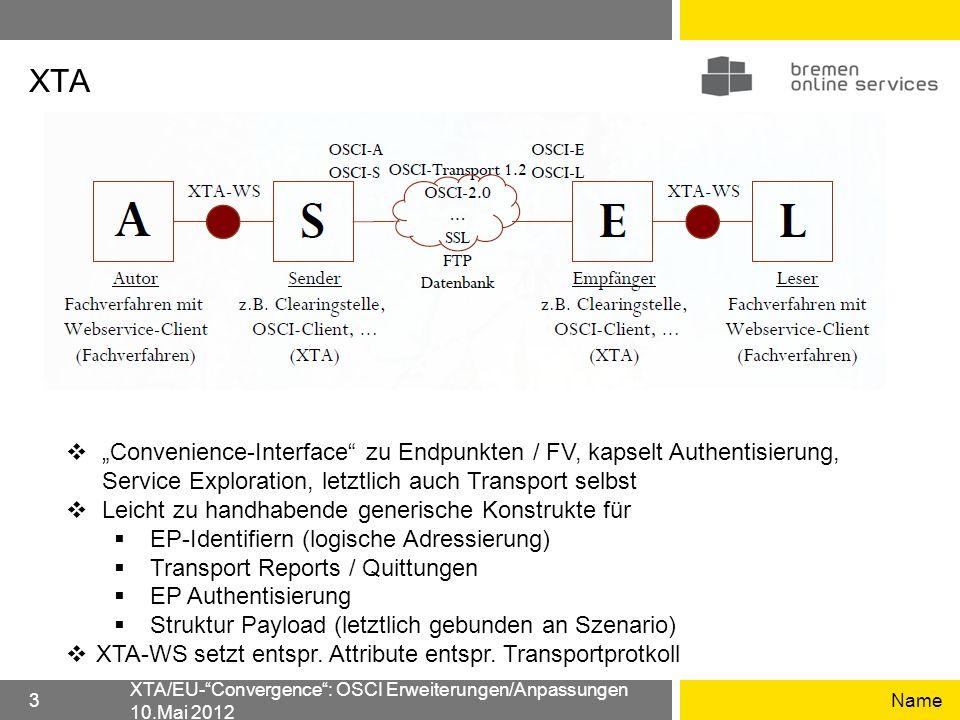 XTA Name XTA/EU-Convergence: OSCI Erweiterungen/Anpassungen 10.Mai 2012 3 Convenience-Interface zu Endpunkten / FV, kapselt Authentisierung, Service E