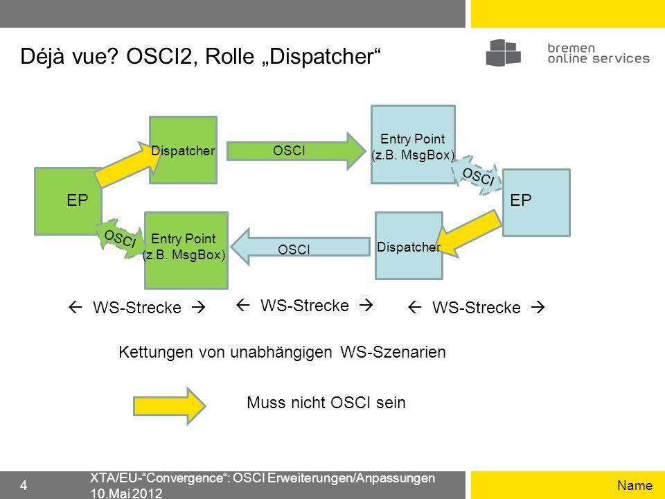 Déjà vue? OSCI2, Rolle Dispatcher Name XTA/EU-Convergence: OSCI Erweiterungen/Anpassungen 10.Mai 2012 4 EP Dispatcher OSCI Dispatcher Entry Point (z.B