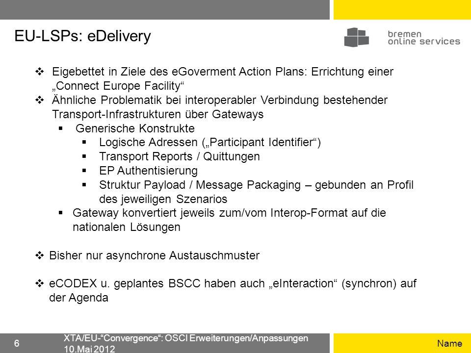 EU-LSPs: eDelivery Name XTA/EU-Convergence: OSCI Erweiterungen/Anpassungen 10.Mai 2012 6 Eigebettet in Ziele des eGoverment Action Plans: Errichtung e