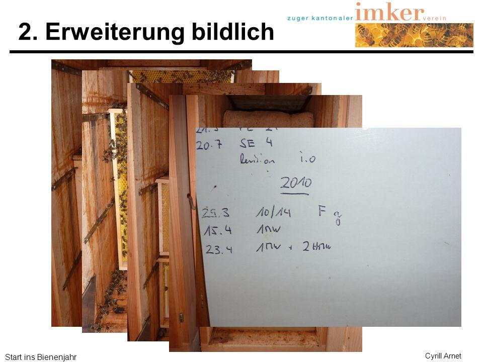 Start ins Bienenjahr Cyrill Arnet 3.Erweiterung Honigwabe über dem Baurahmen als Startwabe des 2.